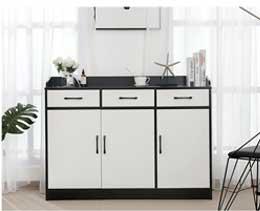 上金简现代储物柜酒柜厨房柜黑白备餐柜茶水柜边柜薄边柜组装